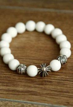 9e22ec81443 Chrome Hearts Bracelet White Beads 3 Silver Cross Ball Cheap Outlet White  Beads Silver Cross