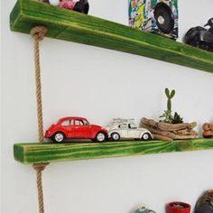 Massive Handmade Green Shelves with Rope Green Shelves, Wood Shelves, Floating Shelves, Custom Jewelry Design, Custom Design, All Wall, Raw Materials, Free Gifts, Natural Wood