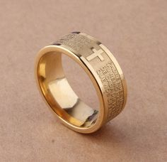 7mm Gold Tone Spanish Golden The Holy Bible Lord's Prayer Cross Ring