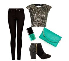Casual new years eve outfit, sequin crop top and studded booties