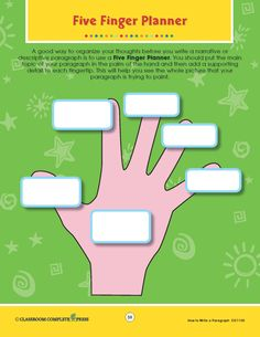How to Write a Paragraph - Five Finger Planner