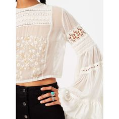 Miss Selfridge Embroided Bell Sleeve Blouse ($130) ❤ liked on Polyvore featuring tops, blouses, cream, embroidery blouse, pink tops, embroidered top, cream blouse and embroidered blouses