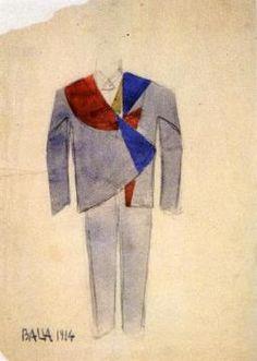 Studio per vestito futurista da uomo - 1914 - Giacomo Balla - Roma, collezione Ventura