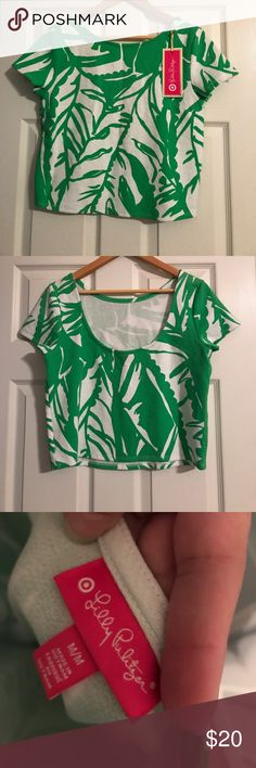 Lilly Pulitzer for Target Cropped Top Absolutely adorable collaboration with Lilly Pulitzer and target! Cute palm print in very vivid green. New with tags and never worn. Lilly Pulitzer Tops Crop Tops