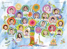 Выпускной альбом, дизайн № 13 (Детский сад). Разворот с детскими портретами. http://www.vipalbom.ru/