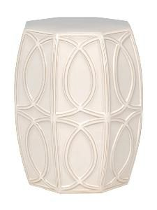 Treillage Ceramic Garden Stool in White $328.00 (USD).  Product in photo is from www.wellappointedhouse.com