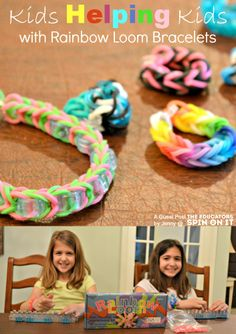 Kids Helping Kids with Rainbow loom bracelets Educational Activities For Kids, Fun Activities, Service Projects For Kids, Rainbow Loom Bracelets, Loom Bands, Creative Play, Girl Scouts, Crafts For Kids, Glow Sticks