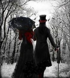 Goth couple. Goths. Gothic. SJF