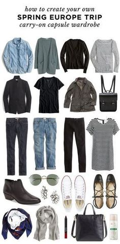A Travel Capsule Wardrobe: Your Ultimate Packing List – european travel outfit summer Travel Outfit Spring, Travel Packing Outfits, Packing For Europe, Packing Clothes, Travel Capsule, Packing List For Travel, New Travel, Travel Style, Summer Outfits