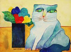 Gato Azul Com Vaso de Flores - Aldemir Martins