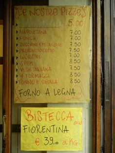 menu yellow bar Florence Food, Menu, Bar, Yellow, Menu Board Design