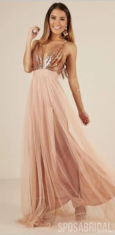 Charming Rose Gold Sequin and Tulle Long Spaghetti Straps Simple Prom Dresses, Bridesmaid Dresses, P - augmented. Rose Gold Wedding Dress, Rose Gold Bridesmaid, Gold Prom Dresses, Pretty Prom Dresses, Simple Prom Dress, Elegant Prom Dresses, Backless Prom Dresses, Long Bridesmaid Dresses, Formal Evening Dresses