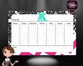 Weekly Calendar Desk Pad, Custom Monogrammed, Choose Your Colors