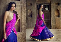 Blue and purple tie dye lehenga