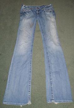 Women's Blue BIG STAR CASEY SWEET 20 Distressed Western Jeans, Size 28XL X 35 #BIGSTARSWEET20 #CountryWesternFlareEmbroideredPocketsJeans