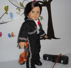 Mariachi charro suit traje black gabardine with silver trim fits American Girl doll 18 in Charro Suit, Boys Suits, Boy Doll, Line Jackets, American Girl, Looks Great, Cold Shoulder Dress, Skirts, Silver