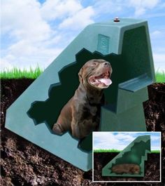 """This unique ""21st Century Eco-Friendly"" underground dog house takes advantage of the Earth's own natural temperature control system. The indestructible shell is partially buried to create, not only a natural den habitat preferred by dogs, but is also then cooled in the Summer and heated in the Winter, naturally."""