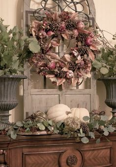 Fall look wreath without the dark fall colors.