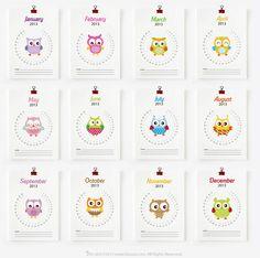 @Kirby Ferrick PRINTABLE 2013 Monthly Calendar, Cute Owls. $8.00, via Etsy.