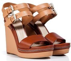 CHLOÉ Nude-Chestnut Leather Wedge Sandals