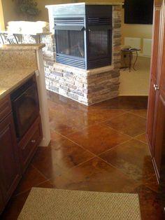 Concrete acid stain for basement floor
