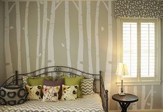 "Birch Trees Wall Decal set pick your color, height and even have them ""carved"" with your initials! #trees #birch #decal #walldecals #decor #bedroom #decals #walldecal #tree #wall #mural"