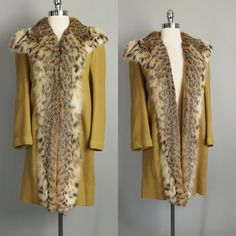 Vtg 40s 30s Lynx Fur Coat Deco Real Spotted Fur Mustard Fox Leopard Shaggy s XS | eBay
