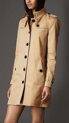 Mid-Length Cotton Gabardine Check Undercollar Trench Coat | Burberry