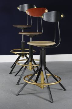 A refined combination of industry and luxury inspired by task furniture of architects and engineers, the Architect's Stool is made to order.