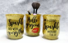 Cricut Nook Glitter Make-up Brush Holder Choosing a Low-cost Wedding ceremony Costume The marriage c How To Wash Makeup Brushes, Make Makeup, Gold Makeup, Clean Makeup, Makeup Brush Holders, Makeup Brush Set, Makeup Guide, Makeup Ideas, Maker