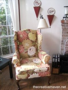 Step by Step wingback reupholstery tutorial. Must remember this when I rip into my chairs.