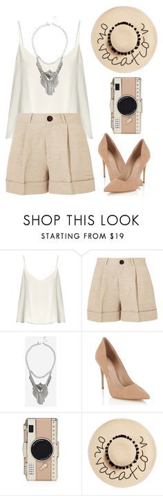 """""""Untitled #1101"""" by sarabutterfly ❤ liked on Polyvore featuring Raey, Totême, Topshop, Lipsy, Kate Spade and August Hat"""
