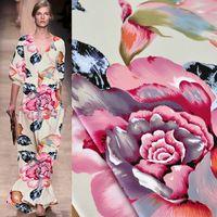 Big flower Digital Printed  Silk charmeuse Satin Fabric pure silk fabric Silk Satin Fabric, Silk Charmeuse, Big Flowers, Pure Silk, Sewing Crafts, Printing On Fabric, Digital Prints, Printed Silk, Pure Products