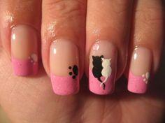 Розовый френч с лапками и котиками на ногтях ::: onelady.ru ::: #nail #nails #nailart #manicure