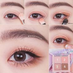 Eye Makeup Brushes, Makeup Kit, Eyeshadow Makeup, Peach Makeup, Soft Makeup, Kawaii Makeup, Cute Makeup, Maquillage Normal, Asian Makeup Tutorials