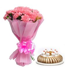 Lovely flower with delicious cake