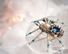 NEW! Luxury Spider brooch Beadwork Spider jewelry Christmas gift Birthday gift for her Pearl Blue Spider art jewelry Gift for sister