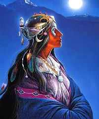 Moon Goddess by Charles Frizzell Aboriginal Culture, Aboriginal Art, Goddess Art, Moon Goddess, Native Art, Native American Indians, Maleficarum, American Poetry, Triple Goddess