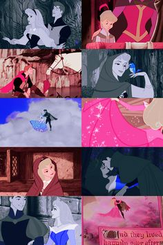 """""""color meme: prince philip and princess aurora in blue and pink."""" Posted on tumblr.com by startswithamouse."""