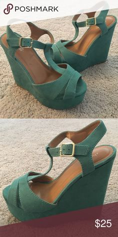 """Teal Suede Platform Wedges - Size 6 Teal Suede Platform Wedges - Size 6 - Only Worn Once ( LIKE BRAND NEW! ) Adjustable ankle strap buckle / T-strap style - Front Platform is approx. 1.5"""" / Back Platform is approx. 5.5"""" - very comfortable! Charlotte Russe Shoes Wedges"""