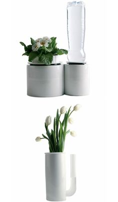 Other pieces include a self-watering plant, where equilibrium between vessels keeps the soil as moist as needed while letting you observe the diminishing water levels so you know when to refuel, as well as a vase with a handle for easy refilling.