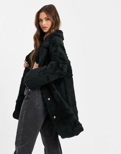 Jayley reversible faux shearling coat in black Asos, Faux Shearling Coat, Mode Online, Kappa, Outfit, Mantel, Latest Trends, Long Sleeve, Sleeves