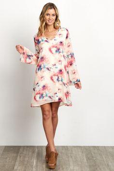 Ivory-Abstract-Print-Cross-Front-Chiffon-Dress