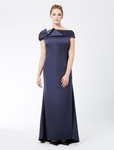 Marina Rinaldi HOLLYWOOD dark navy: EXCLUSIVEMENT SUR INTERNET�: la robe en satin duchesse.