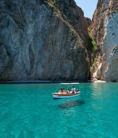 The turquoise waters of Ponza's neighbouring island of Palmarola.