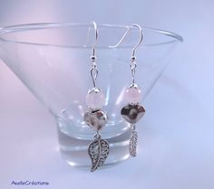 Boucles d'oreilles argent quartz rose coeur par Axellecreations