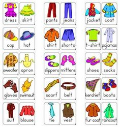 # 30 Colored Clothes Flashcards for Young Learners (in PDF format) Flashcards can be a very useful tool to use with younger learners. Using flashcards can help improve visual memory, association and comprehension. Kids English, English Words, English Lessons, Learn English, English Language, Foreign Language, Teaching Kids, Teaching Resources, Teaching Weather