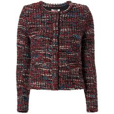 IRO Women's Carene Collarless Knit Jacket (1.395 BRL) ❤ liked on Polyvore featuring outerwear, jackets, red, collarless jacket, pocket jacket, long sleeve jacket, red knit jacket and red jacket