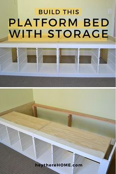 DIY twin platform bed with storage made from IKEA shelves to give you a ton of toy storage! Click through for the step-by-step tutorial. (No saw required for this IKEA hack!) #bigboyroom #boyroom #bedroom #diybedframe #ikeahack #twinbed #build #woodwork #toystorage #toyorganization #kidbedrooms #platformbed #diytwinbed #diydecor #diyfurniture Twin Storage Bed, Platform Bed With Storage, Twin Platform Bed, Bed Frame With Storage, Bedroom Storage, Diy Storage Daybed, Ikea Storage Bed Hack, Build A Platform Bed, Murphy-bett Ikea