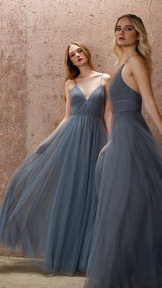 The Ali dress by Jenny Yoo Collection has a romantic A line silhouette with a dainty spaghetti strap V neck in our ethereal Soft Tulle. The two band detail slims the natural waist… Flowy Prom Dresses, Tulle Bridesmaid Dress, Bridal Party Dresses, Ball Dresses, Pretty Dresses, Dress Prom, Beautiful Dresses, Flower Girl Dresses, Wedding Dresses